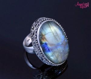 inel din argint annesbijoux cu labradorit natural. deosebit